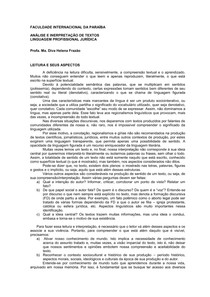 LEITURA Linguagem Profisional Jurídica