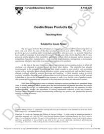 destin brass products Case 2 : destin brass products co question 1 use the overhead cost activity  analysis in exhibit 5 and other data on manufacturing costs to estimate product.