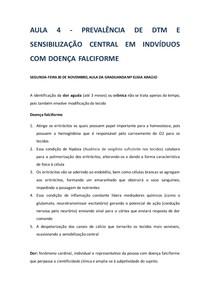 PREVALÊNCIA DE DTM E SENSIBILIZAÇÃO CENTRAL EM INDVÍDUOS COM DOENÇA FALCIFORME