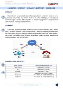 Aula 28 - Conceitos - Internet - Intranet - Extranet - Exercícios