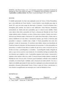 Psicanálise e literatura. Resumo. BARONE, Leda Maria Codeço. et al. 2.4- Literatura, psicanálise e psiquiatria. O alienista de Machado de Assis como ruptura de campo.