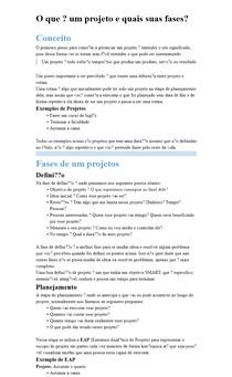 O que é um projeto e quais suas fases?