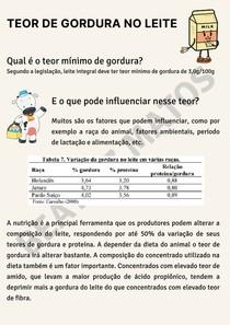 Teor de gordura no leite