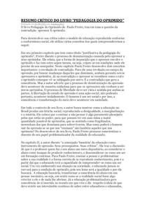1 RESUMO CRÍTICO PEDAGOGIA DO OPRIMIDO - PAULO FREIRE