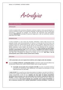 Principais Artralgias ( fisopatologia, quadro clinico, diagnostico )