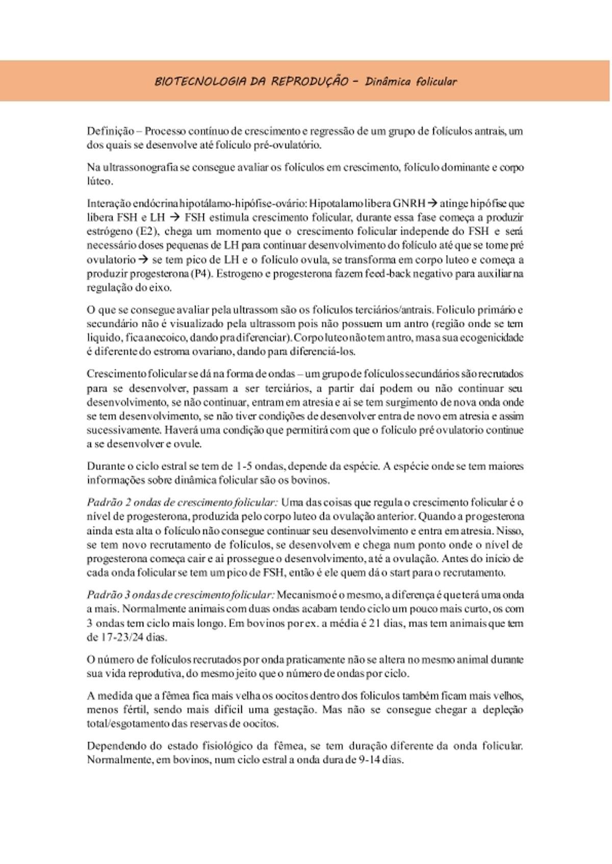 Pre-visualização do material Dinâmica folicular - página 1