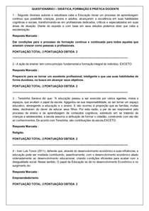 QUESTIONÁRIO I DIDÁTICA, FORMAÇÃO E PRÁTICA DOCENTE