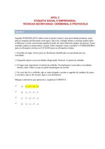 APOL 5 ETIQUETA EMPRESARIAL E TECNICAS SECRETARIAS