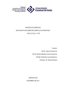 K2[Cu(K2C2O4)2] ∙ 2 H2O   Relatório de aula prática