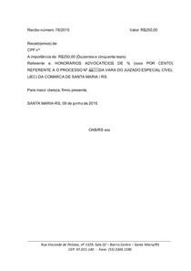 RECIBO HONORÁRIOS modelo