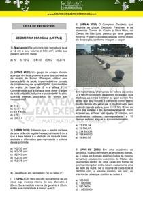 Exercícios - Geometria espacial (lista 2)