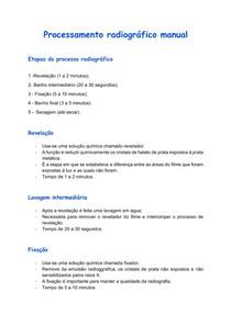Processamento radiográfico manual