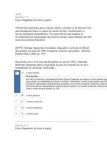 APOL PROVA OBJETIVA E DISCURSIVA SISTEMA DE ENSINO E POLITICAS EDUCAIONAIS