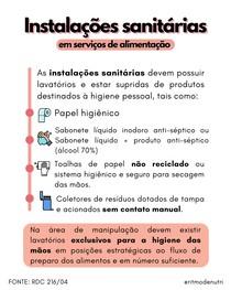 RDC 216 ESQUEMATIZADA - INSTALAÇÕES SANITÁRIAS