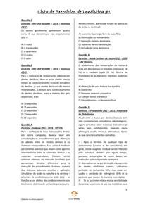 Lista de Exercícios de Dentística #1 - Odontologia Para Concursos