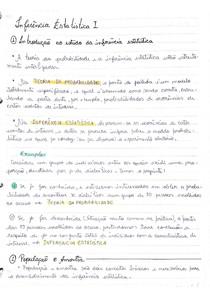 Inferência I - Parte 1, Assuntos: introdução ao estudo da inferência, inferência estatística, população e amostra, tamanho da amostra, variáveis nominais e numéricas, teste de hipóteses, estimação pontua