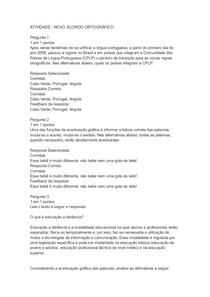 ATIVIDADE - NOVO ACORDO ORTOGRÁFICO