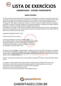 EXERCÍCIOS RESOLVIDOS BRASIL COLÔNIA - 03