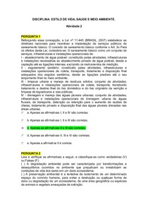ATIVIDADE 2 - ESTILO DE VIDA, SAUDE E MEIO AMBIENTE