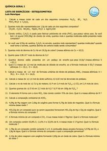 Exercícios de Estequiometria