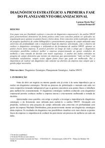 DIAGNÓSTICO ESTRATÉGICO A PRIMEIRA FASE DO PLANEJAMENTO ORGANIZACIONAL