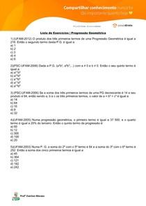 Lista de Exercícios - Progressão Geométrica
