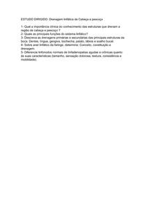 Estudo dirigido - Drenagem Linfática Cabeça e Pescoço