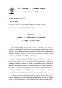 """Resenha artigo """"Psicologia em momentos de pandemia: sentidos e ressonâncias"""""""