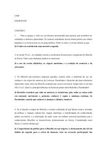 Exercício Filosofia (Unip EAD) 4 Unidades - RESPONDIDOS