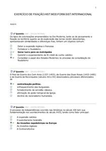 EXERCÍCIO DE FIXAÇÃO-HIST.MOD.DA FORM.DO SIST.INTERNACIONAL