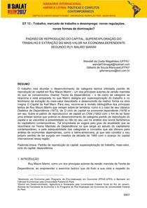 Padrão de Reprodução do Capital, Superexploração do Trabalho e Extração do Mais-Valor na Economia Dependente - Anais SIALAT 2017
