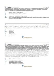 AVALIAÇÃO PARCIAL FUNDAMENTOS DA EPIDEMIOLOGIA