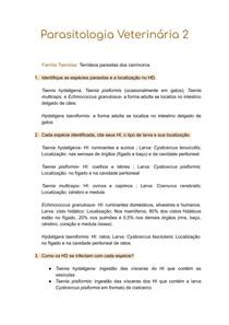Tenídeos de Carnívoros - Parasitologia