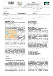 HISTÓRIA ANTIGA - EGITO E MESOPOTÂMIA _ AVALIAÇÃO 6º ANO