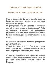 Início da colonização no brasil, período pre-colonial e a decisão de colonizar as terras