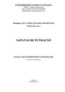 Sapatas de Fundação (UNIVERSIDADE ESTADUAL PAULISTA)