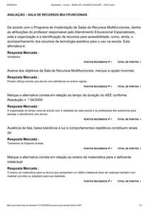 AVALIAÇÃO SALA DE RECURSOS MULTIFUNCIONAIS