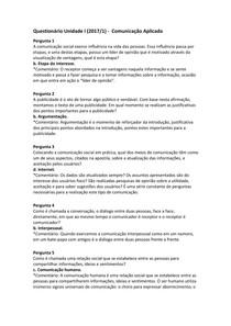 Questionário Unidade I (2017/1) -  Comunicação Aplicada