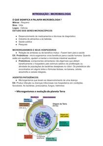 INTRODUÇÃO A MICROBIOLOGIA - RESUMO