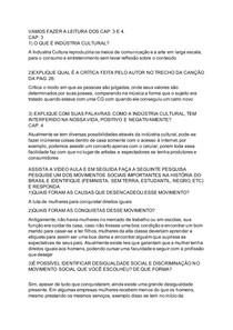 INDÚSTRIA CULTURAL E CIDADES DESIGUALDADES E MOVIMENTOS SOCIAIS