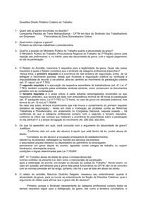 Questões Respondidas - Direitos Protetivos Coletivos do Trabalho
