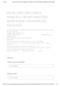 PROVA UNIFICADA CAMPUS MARQUÊS E TATUAPÉ MATUTINO_ ABORDAGENS HUMANISTAS EM PSICOLOGIA 1