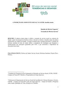 A INSERÇÃO DO ASSISTENTE SOCIAL NA SAÚDE: desafios atuais.