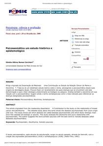 Psicossomática um estudo histórico e epistemológico AULA 1