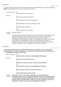 Questionário Unidade 1 Empreendedorismo e plano de negócios Unip