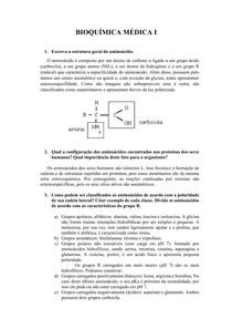 Exercícios sobre aminoácidos- Bioquímica