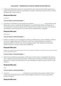 AVALIAÇÃO TENDÊNCIAS ATUAIS NO ENSINO DA MATEMÁTICA