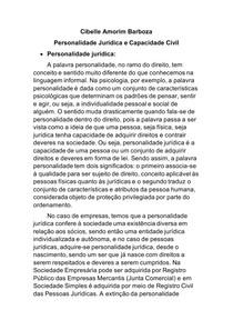 Personalidade Jurídica e Capacidade Civil