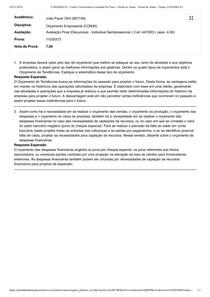 Orçamento Empresarial Prova 3 Discursiva