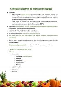 Compostos Bioativos de interesse em Nutrição